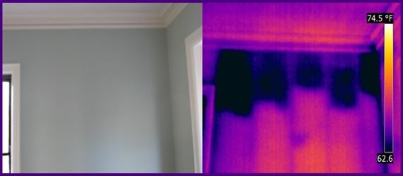 Infrared Investigation showing cellulose insulation having settled